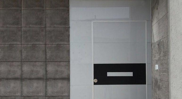 דלת קו אפס בחיפוי זכוכית אפורה ופס שחור במרכז הדלת