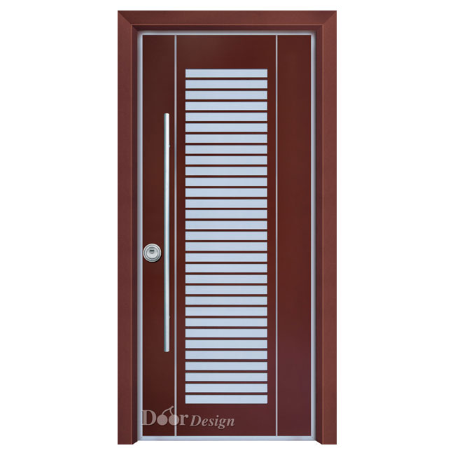 D7034 דלת פלדיניום אדומה חלון פסים