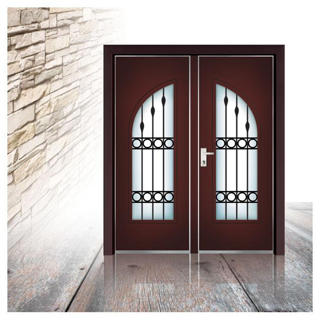 דלת פלדיניום אדומה עם חלונות מסורגים