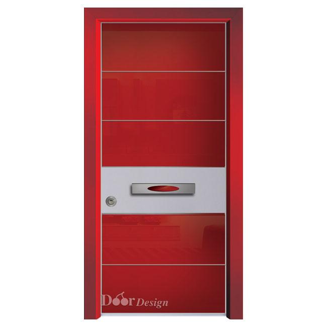 D7202 דלת פלדיניום כנף אדומה זכוכית