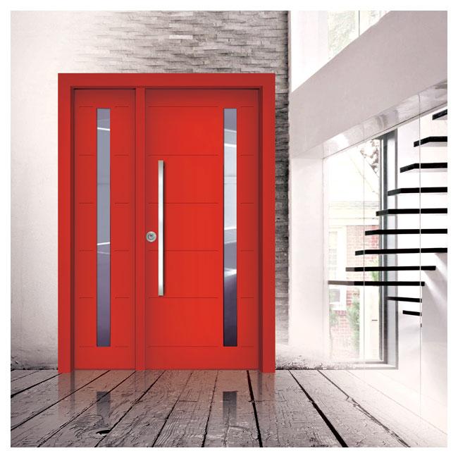 7207 דלת פלדיניום חלונות אדומה