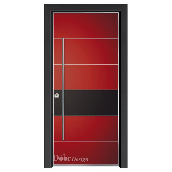 דלת פלדיניום כנף אדומה דגם D9677