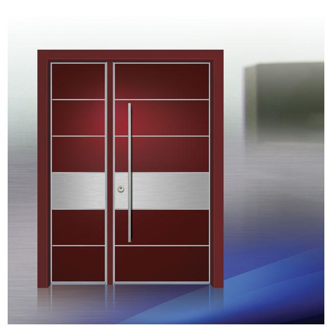 D9699 דלת כניסה פלדיניום פסים כנף וחצי