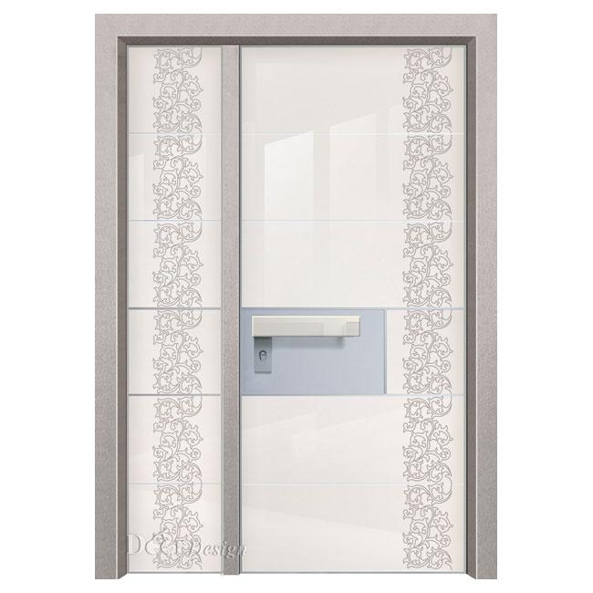 דלת כניסה פלדיניום עם זכוכית שמנת