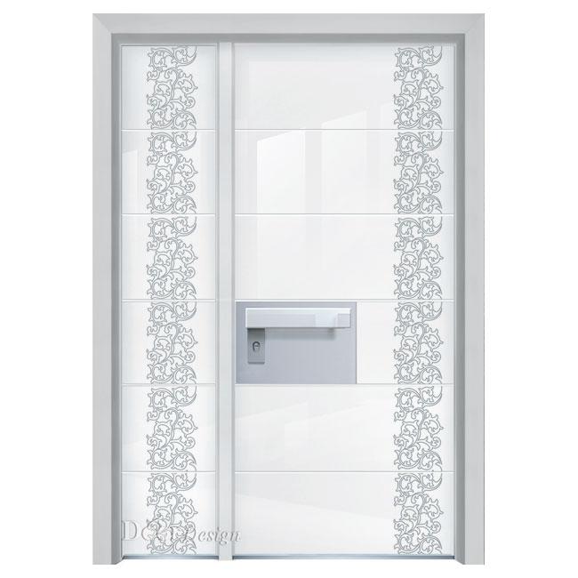 דלת כניסה עם זכוכית לבנה