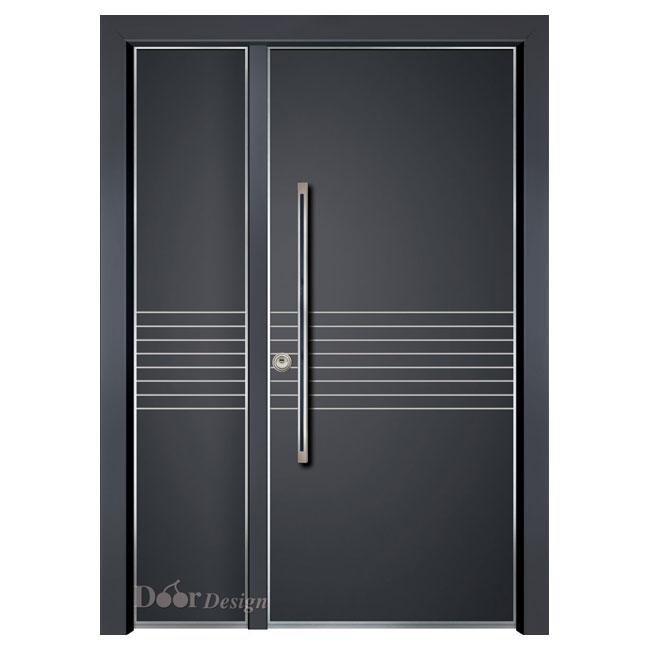 דלתות כניסה D7199 פסי ניקל,צבע שחור