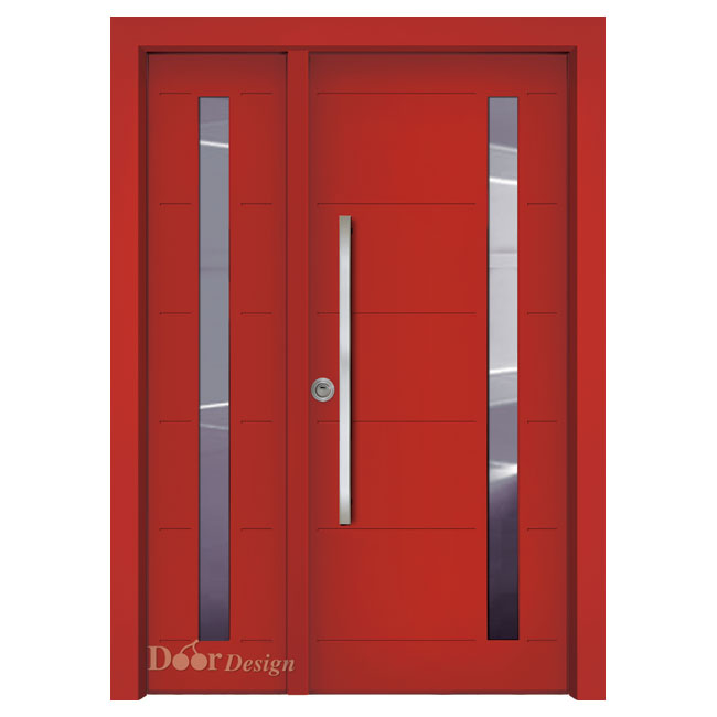 דלת עם חלון זכוכית דגם D7207-Red