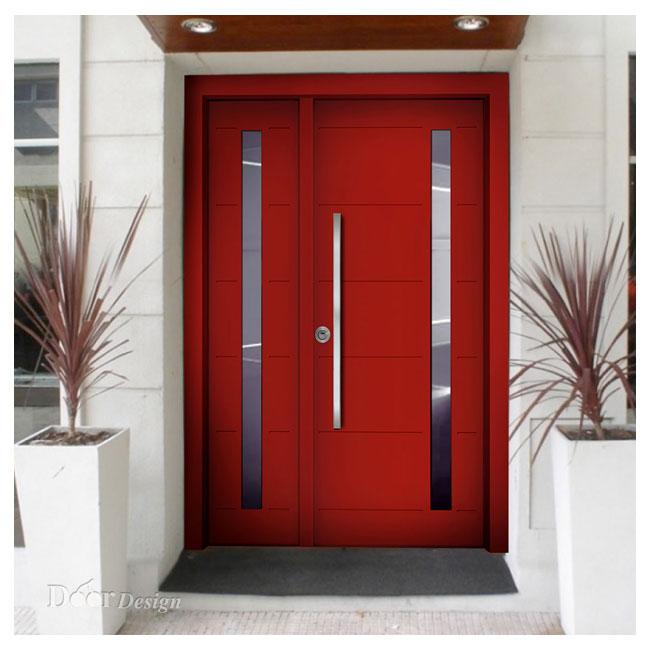 דלת בדגם D7207 בצבע אדום